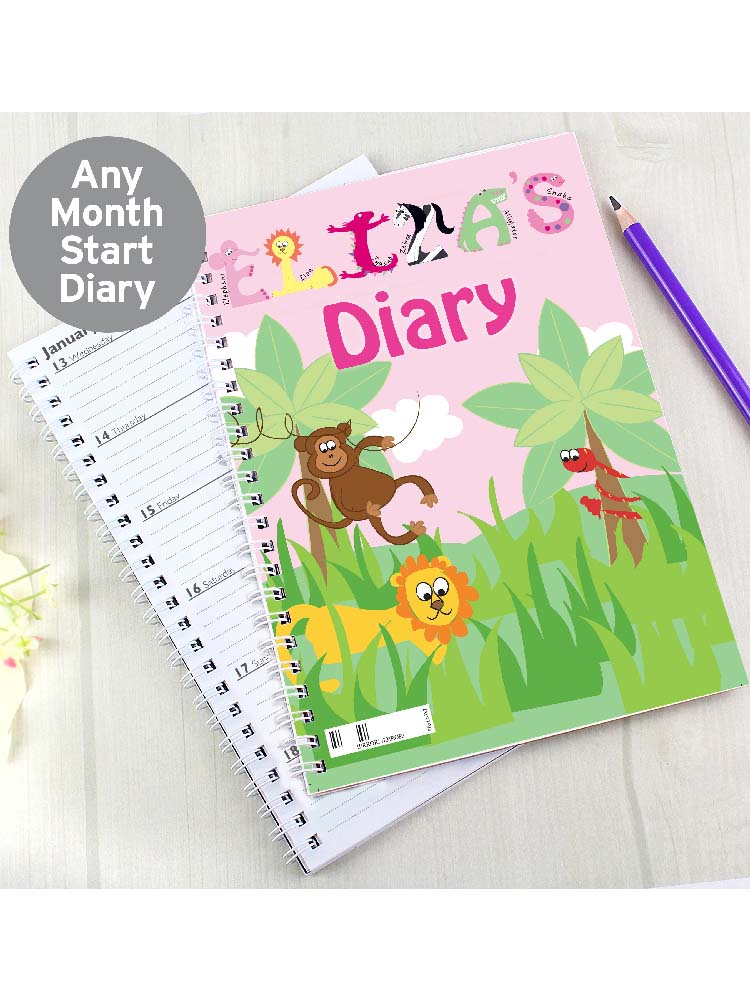 Personalised Pink Animal Alphabet A5 Diary