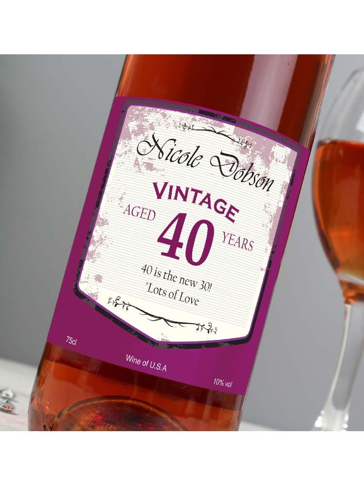Personalised Rose Wine Vintage Age Label