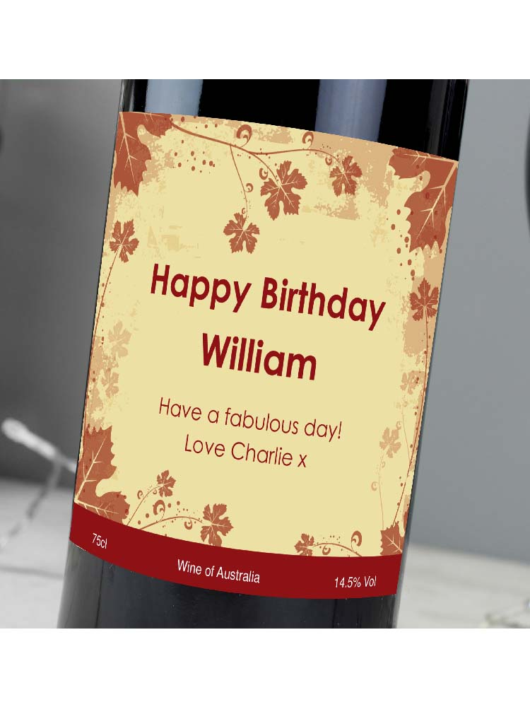 Personalised Red Wine Ivy Label