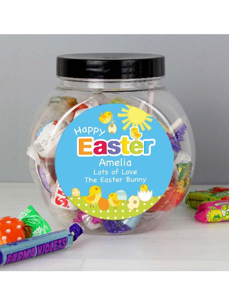 Personalised Easter Chick Sweet Jar