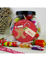 Personalised Felt Stitch Gingerbread Man Sweet Jar
