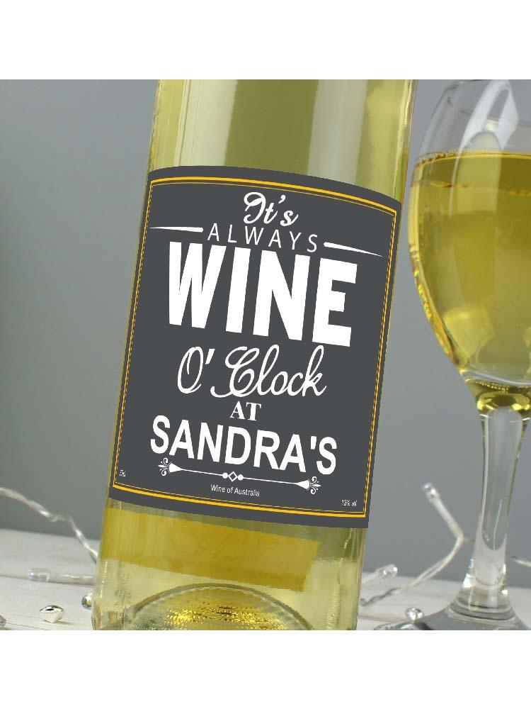 Personalised Wine O'Clock White Wine