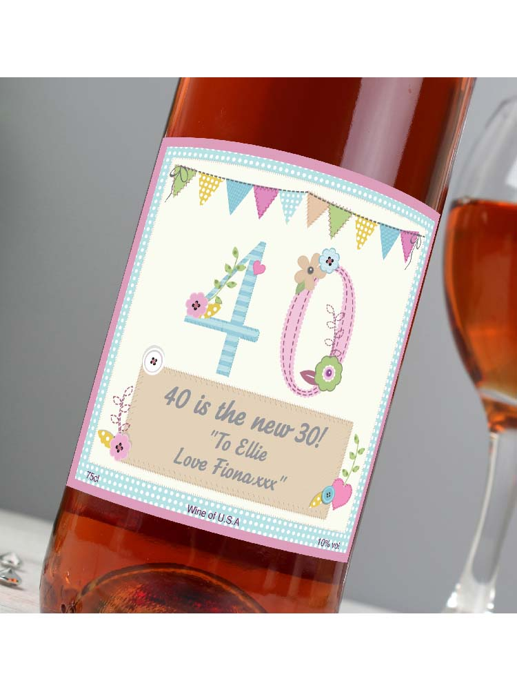 Personalised Birthday Craft Rose Wine