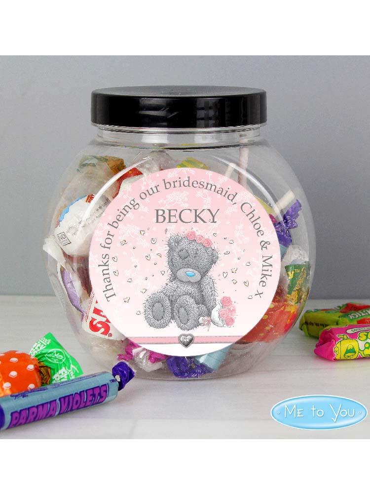 Personalised Me To You Bridesmaid Wedding Sweet Jar