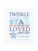 Personalised Twinkle Boys White Framed Print