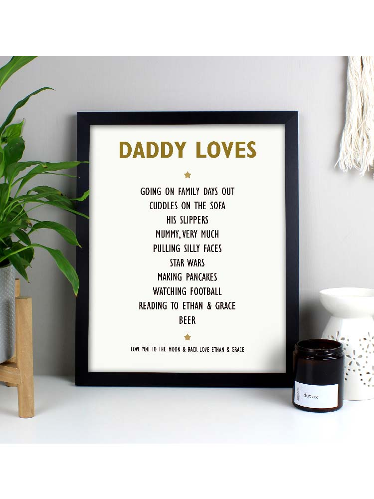Personalised List of Love Black Framed Print