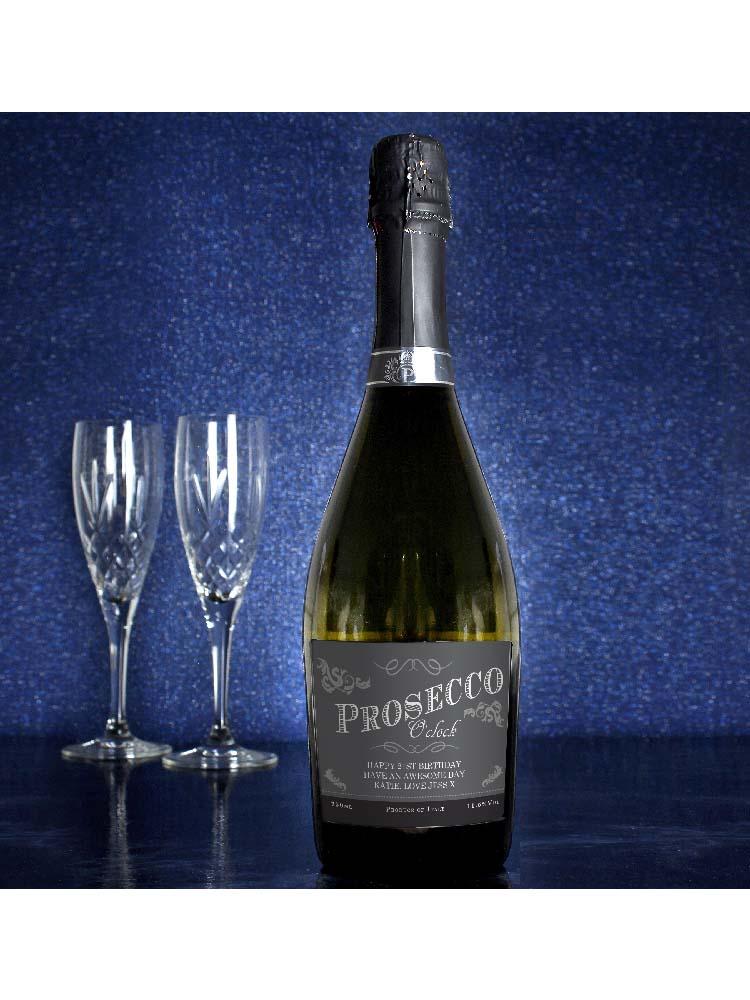 Personalised 'Prosecco O'Clock' Bottle of Prosecco