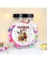 Personalised Boofle Christmas Reindeer Sweet Jar