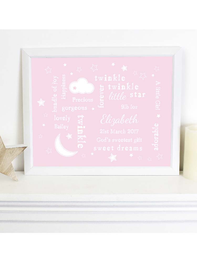 Personalised Pink Twinkle Twinkle Typography White Framed Print