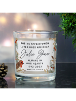 Personalised Robins Appear Memorial Scented Jar Candle