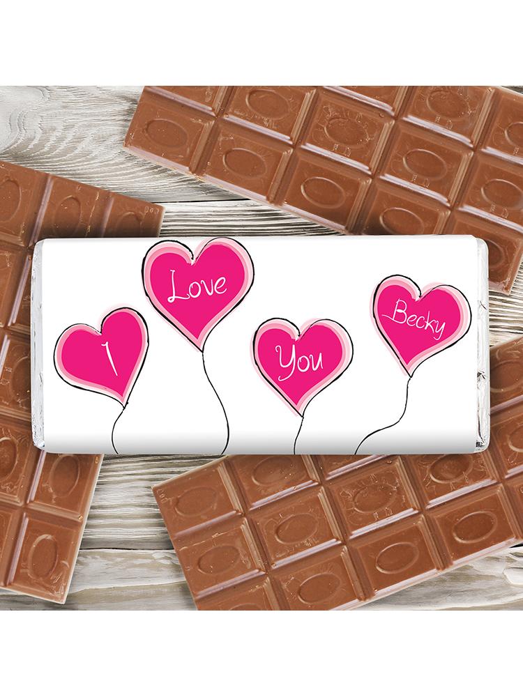 Personalised Heart Balloon Milk Chocolate Bar