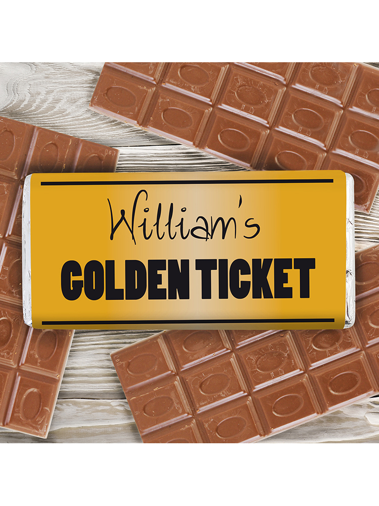 Personalised Golden Ticket Milk Chocolate Bar