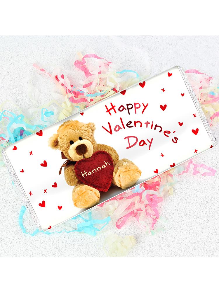 Personalised Teddy Heart Milk Chocolate Bar