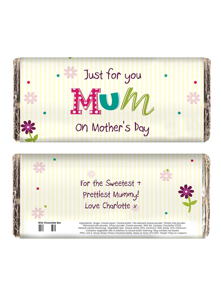 Personalised Patchwork Flowers Milk Chocolate Bar