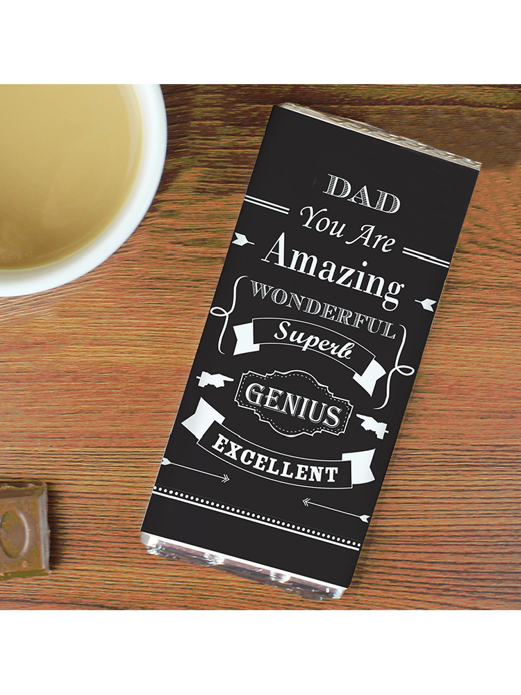 Personalised Vintage Typography Milk Chocolate Bar