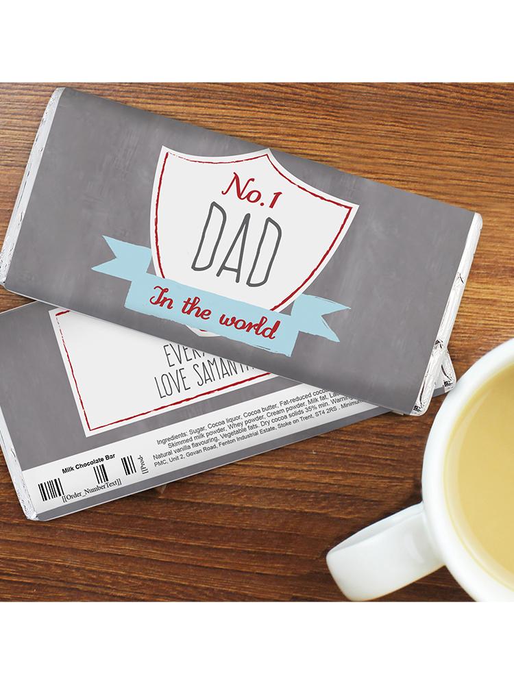 Personalised No.1 Shield Milk Chocolate Bar