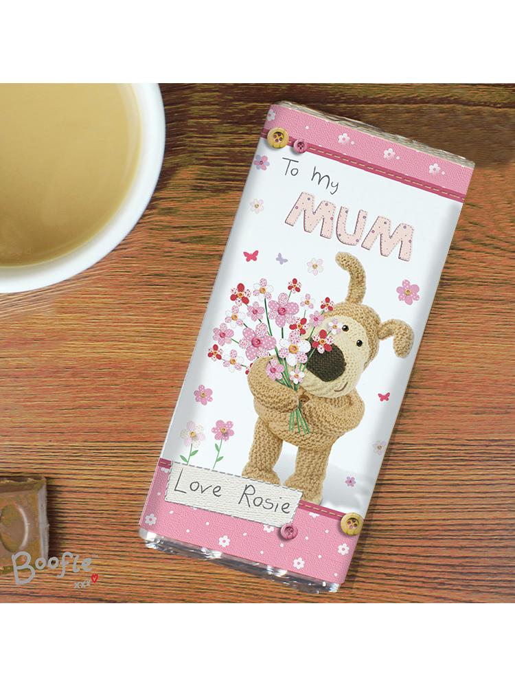 Personalised Boofle Flowers Milk Chocolate Bar