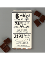 Personalised 6th Anniversary Milk Chocolate Bar