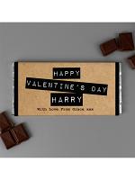 Personalised Valentine's Kraft Design Milk Chocolate Bar