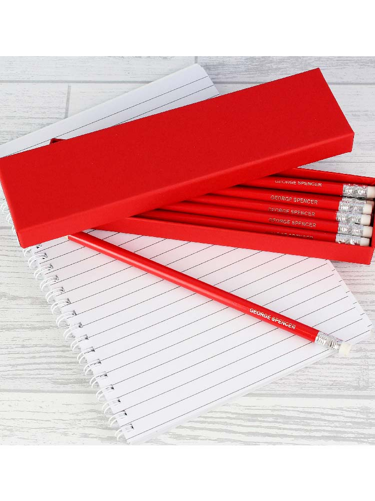Personalised Box of 12 Red HB Pencils