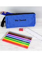 Blue Pencil Case with Personalised Pencils