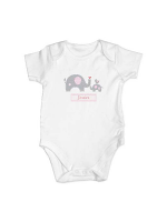 Personalised Pink Elephant 0-3 Months Baby Vest
