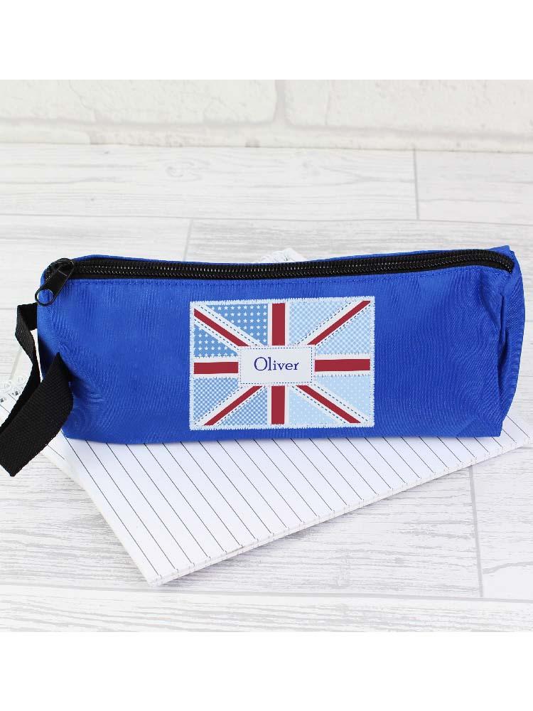 Personalised Patchwork Union Jack Pencil Case