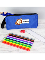 Blue Monkey Pencil Case with Personalised Pencils