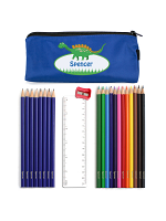 Blue Dinosaur Pencil Case with Personalised Pencils