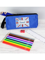 Blue Patchwork Union Jack Pencil Case with Personalised Pencils