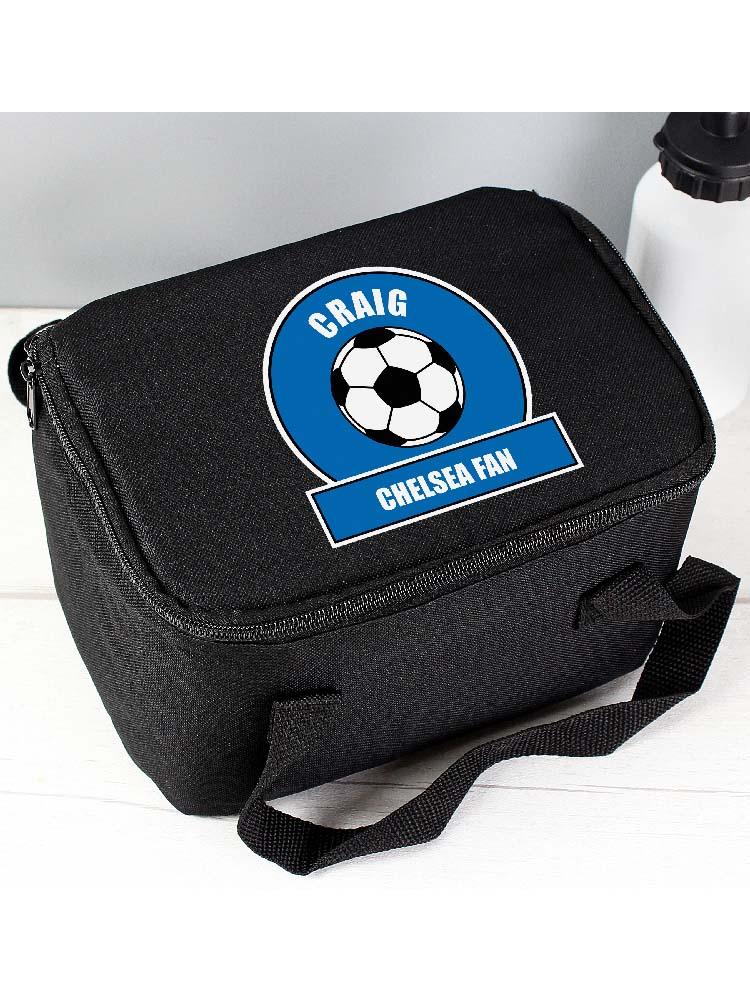 Personalised Dark Blue Football Fan Lunch Bag
