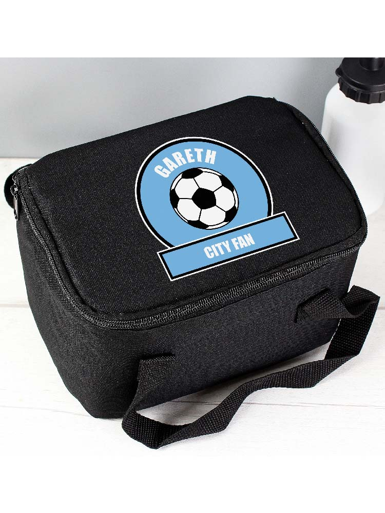 Personalised Sky Blue Football Fan Lunch Bag