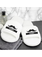 Personalised Moustache Velour Slippers