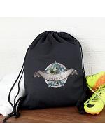 Personalised Army Camo Black Swim & Kit Bag