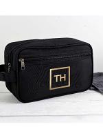 Personalised Gold Initials Black Vanity Bag