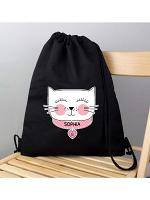Personalised Cute Cat Black Swim & Kit Bag