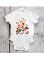 Personalised Festive Fawn 0-3 Months Baby Vest