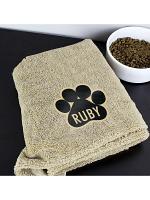 Personalised Paw Print Brown Microfibre Pet Towel