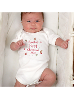 Personalised First Christmas 0-3 Months Baby Vest