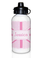 Personalised Pink Patchwork Union Jack Drinks Bottle