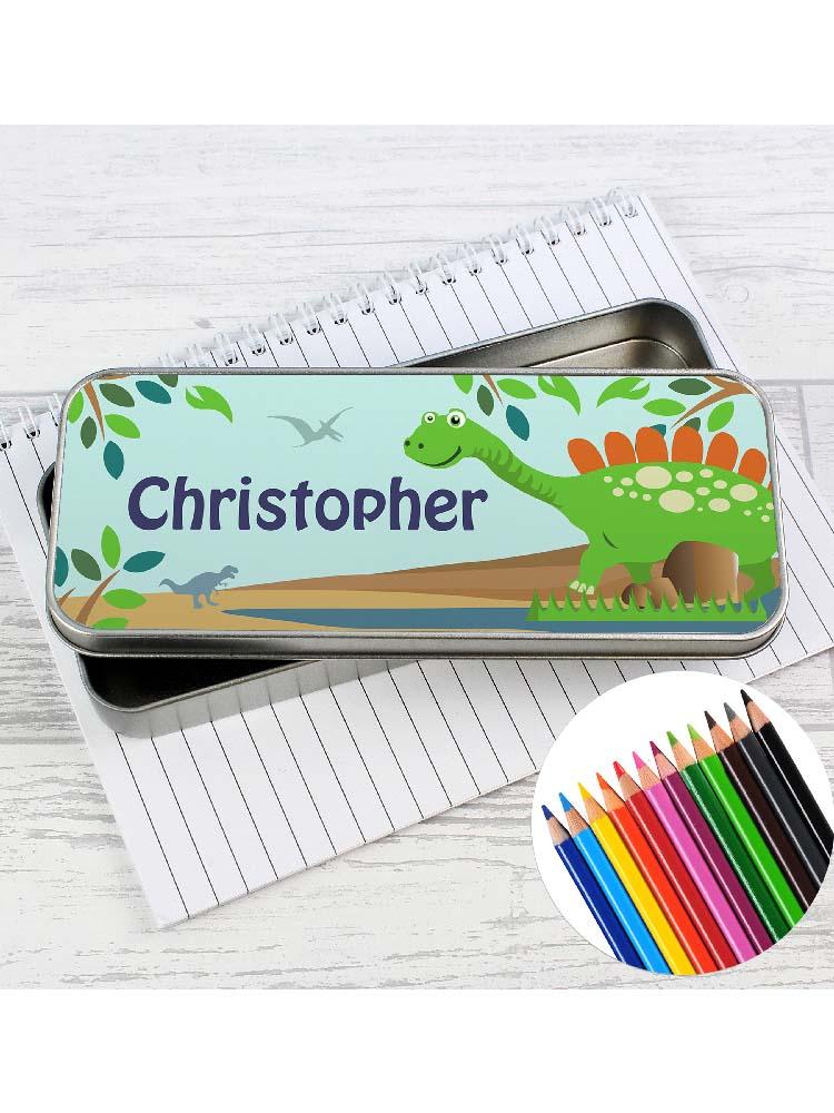 Personalised Dinosaur Pencil Tin with Pencil Crayons