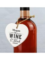 Personalised Wine O'Clock Ceramic Heart