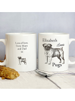 Personalised Loves Pugs Mug