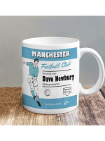 Personalised Vintage Football Sky Blue and White Supporters Mug