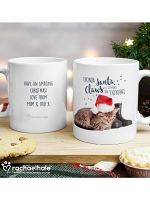 Personalised Rachael Hale Santa Claws Christmas Cat Mug