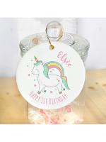 Personalised Baby Unicorn Round Decoration