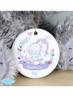 Personalised Tiny Tatty Teddy Unicorn Round Decoration