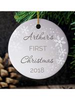 Personalised 1st Christmas Round Ceramic Decoration