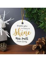 Personalised Shine Teacher Round Ceramic Decoration