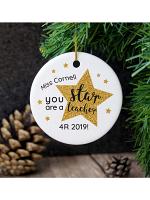 Personalised Star Teacher's Round Ceramic Decoration